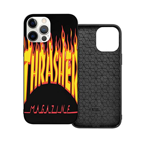 Derdeo Compatible with iPhone 12 Pro Max Case, Thras-Her Golden Yellow Flame Logo Soft Non-Slip Shockproof Protective iPhone Phone Case Cover