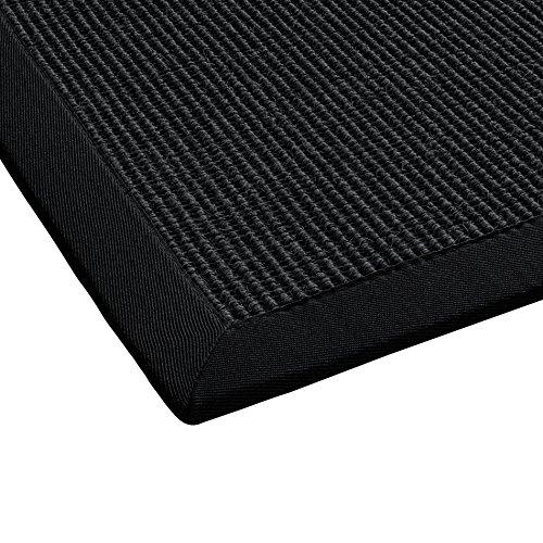 BODENMEISTER Sisal-Teppich modern hochwertige Bordüre Flachgewebe, verschiedene Farben und Größen, Variante: schwarz anthrazit, 80x150
