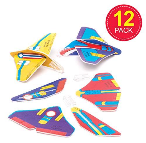 Baker Ross- Planeadores con Forma de Naves Espaciales (Pack de 12) -Regalos infantiles para bolsas de cotillón