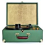 Gramophone Rétro, Vintage Valise Portable À 3 Vitesses avec Haut-parleurs Intégrés, Tourne Disque Plafonniers Stéréo Omnidirectionnels Dynamiques Intégrés