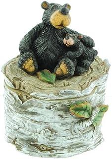 Willie Black Bear & Cub on Birch Log, Trinket Treasure Box 5