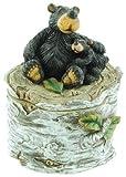 WD Willie Black Bear & Cub on Birch Log, Trinket Treasure Box 5.5-inch