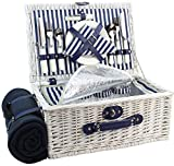 HappyPicnic Picnic Basket Willow for 4 Persons | Large Wicker Hamper Set