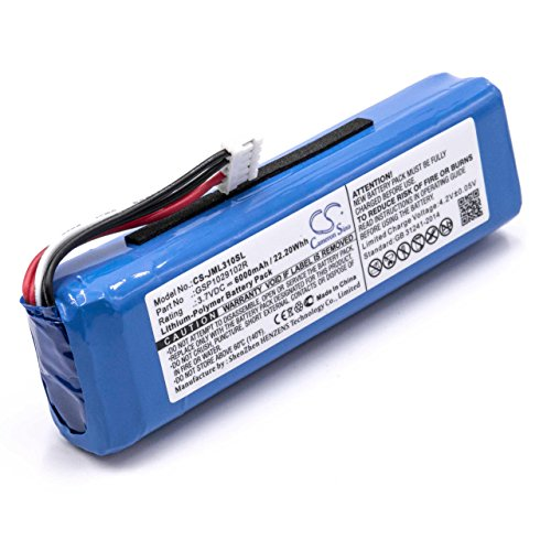 vhbw Akku passend für JBL Charge 2 Plus, Charge 2+, Charge 3 (2015) Bluetooth Lautsprecher wie GSP1029102R (Li-Polymer, 6000mAh, 3.7V) Ersatzakku