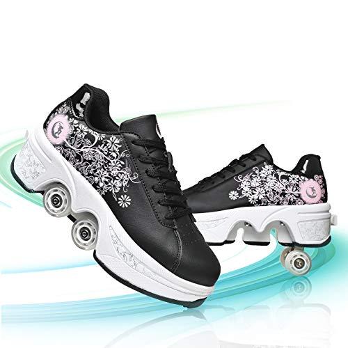 TAOXUE Patines De Ruedas para Mujeres Deformación Retráctiles Zapatos de Polea para Adultos/Niños Zapatos Deportivos Al Aire Libre con Ruedas Zapatos De Patinaje