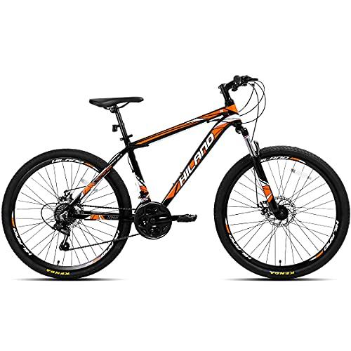 AL032621_OR-jio. Hiland Bicicleta de montaña 26 pulgadas MTB aluminio con cuadro de aluminio 17 pulgadas freno de disco ruedas de radios Shimano 21 cambio suspensión horquilla negro&naranja
