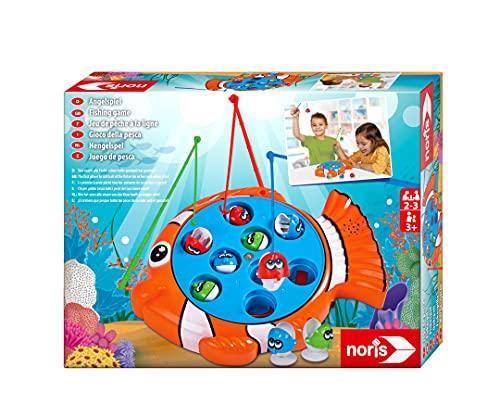 Noris 606064296 Angelspiel, spannendes Kinderspiel mit bunten Kunststoff Fischen und 3 Angeln, ab 3 Jahren