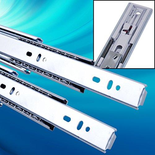 Schubladenschienen 2 STÜCK VOLLAUSZUG mit Selbsteinzug (Softclosing) Rollenauszug Teleskopschiene Schubladenauszug H: 45 / L: 350 mm | Tragkraft 35 kg/Paar |Kugellager mit Stahlkäfig|