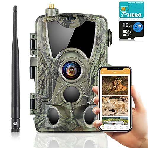 SUNTEKCAM 4G Live-Übertragung 4K 30MP Wildkamera Fotofalle Jagdkamera & Staubdicht Nachtsichtkamera mit HandyüBertragung Überwachungskamera Mit Durchflusskarte