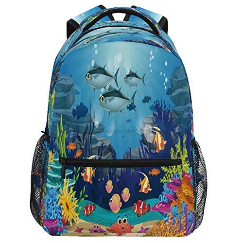Oarencol mochila de peces marinos marinos coloridos bolsa de viaje senderismo camping escuela portátil