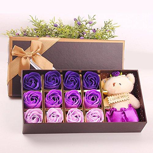 Menshow(メンズショウ) 母の日 花 熊のぬいぐるみ 石鹸の花 枯れない花 クマ付き 綺麗な花束 造花 ソープフラワー ローズフラワー 贈り物 誕生日 バレンタインデー 結婚 お祝い bear purple