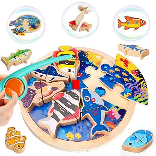 LUKAT Magnetische Angeln Spielzeug für 2 3 4 5 Jahre Mädchen & Jungen, 4 in 1 Angelspiel Magnet Holz Spielzeug für Kinder Tischspiele Weihnachten Geburtstag Geschenk Lernspielzeug mit Magnetstangen