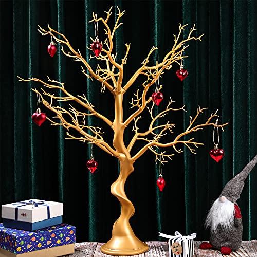 Árbol Artificial de Simulación Removible para Centro de Mesa de Árbol Registro Boda Árbol de Hogar para Decoración Joyería Fiesta Navidad Boda Jardín, 30 Pulgadas de Altura (Dorado)