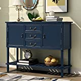 Farmhouse Console Sofa Table 45'' Wood Sideboard Buffet Entry Side Storage Cabinet with Drawers and Open Shelf for Living Room, Entryway, Bedroom, Kitchen (Navy Blue)
