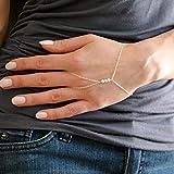 TseenYi Pulsera de dedo de perlas de plata, anillo de mano, pulsera de cadena de mano bohemio, pulsera de esclavo, cadena de mano, joyería para mujeres y niñas (plata)