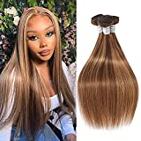Brazilian Hair Ombre Bundles Straight Wave Human Hair 3 Bundles F4/27 Ombre Virgin Hair 3 Bundles 100G/Pcs Unprocessed Remy Human Hair Double Weft Weave Two Tone Light Brown Mix Blonde(16 18 20 Inch)