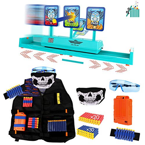 Toy Gift Set for Nerf Guns Series , Includes Electronic Running Shooting Target Scoring Auto Reset Digital Targets and Kids Tactical Vest Kit, Nerf Guns Accessories, Ideal Gift Toy for Kids-Boys&Girls