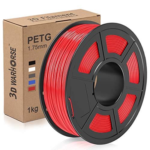Filamento PETG, filamento de impresora 3D de 1,75 mm, bobina de impresión PETG 3D de 1 kg, precisión dimensional +/- 0,02 mm, Rojo