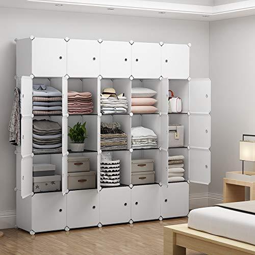 YOZO Portable Closet Wardrobe Modular Dresser Chest Drawer Cube Storage Organizer Ployresin Clothes Shelving Unit Multifunction Toy Cabinet Bookshelf DIY Furniture White 25 Cubes