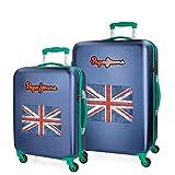 Pepe Jeans Bristol Juego de maletas Azul 55/67 cms Rígida Cierre TSA 101L 4 Ruedas Equipaje de Mano