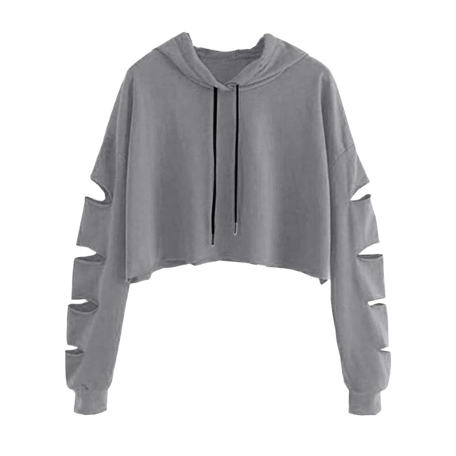 Women Hoodie Long Sleeve Pullover Teen Girls Cute Crop Tops Solid Sweatshirts Casual Hollow Jumper Blouse Shirts
