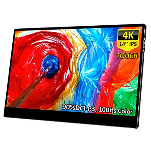 4K Portable Touch Monitor,Corkea 14 Inch 3840×2160 Resolution IPS UHD Touchscreen Display,HDMI/USB C Input,Wide Color Gamut,Support PD Fast Charge for PS3 PS4 Xbox 360 Laptop Cellphone PC MAC