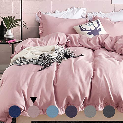 AShanlan Ropa de cama con volantes, rosa, 220 x 240, 3 piezas, monocolor, rosa envejecido, romántico, 120 g/m², microfibra, funda nórdica con funda de almohada de 80 x 80 cm, cremallera