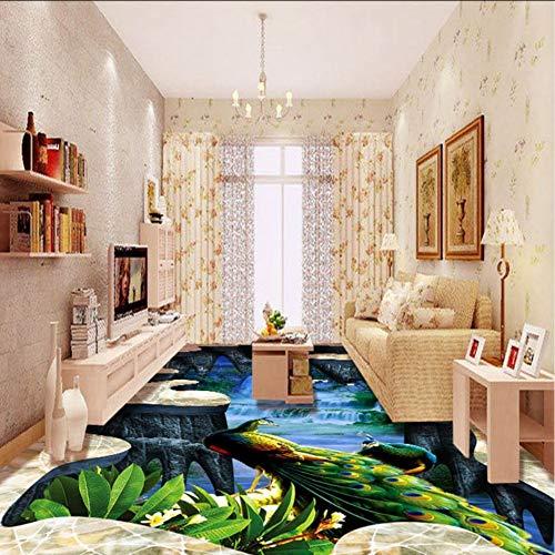 Wuyii fotobehang voor buiten, motief: pauw, 3D-vloer, voor eetkamer, hal, wand, wanddecoratie 200 x 140 cm