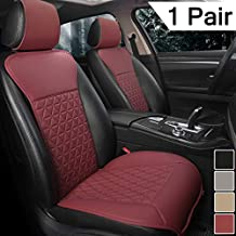 Black Panther 1 Pair Luxury PU Car Seat Covers Protectors for Front Seats, Triangle Pattern, Compatible with 95% Cars (Sedan/SUV/Pickup/Mini Van) - Wine Red