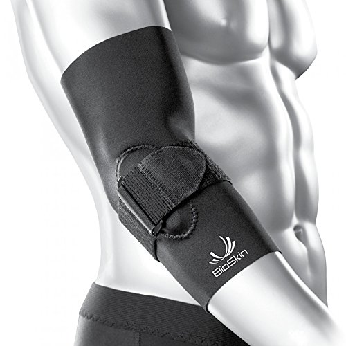 BIOSKIN Tennis Elbow Brace - Elbow Compression Sleeve with Support Strap and Gel Pad - for Tennis Elbow and Golfer's Elbow and Tendinitis (L)