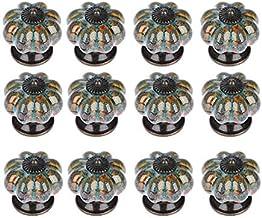 Teean 12-delige set deurknop van keramiek, pompoen antiek, voor kasten, commode, laden, keukenmeubels, handgrepen (blauw)