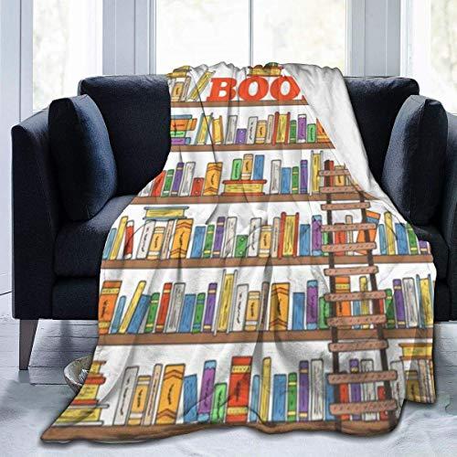 Biblioteca Estantería con una escalera Educación escolar Vida en el campus Caricatura Ilustración Manta de tiro de lana Manta de lana de microfibra súper suave Manta de TV lujosa para sofá Sofá