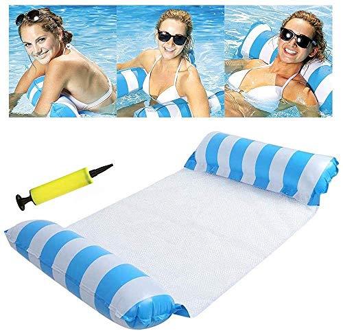 sopplea Aufblasbares Schwimmbett, Wasser-Hängematte 4-in-1Loungesessel Pool Lounge luftmatratze Pool aufblasbare hängematte Pool aufblasbare hängematte für Erwachsene und Kinder (Blue)
