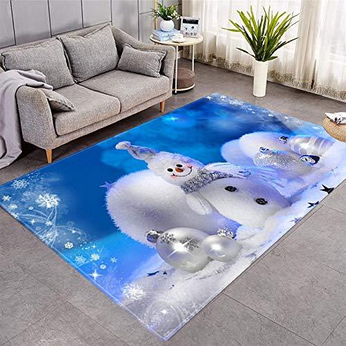 DRTWE Alfombra de terciopelo suave, con diseño de muñeco de nieve en 3D, para sala de estar, dormitorio, antideslizante, cálida, para interiores y exteriores, yoga, meditación, para niños, 40 x 60 cm