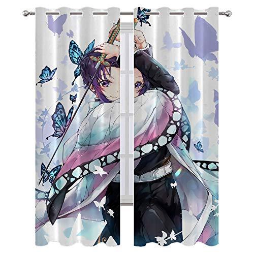 Cortina de ducha Lush Decor Anime Demon Slayer Kochou Shinobu moderna decoración del hogar 72 x 63 pulgadas