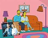 Regalo Original Ilustración Digital Personalizada al Estilo Simpson Hecha a Mano por un ilustrador Profesional 21 cm x 29,7 cm Se Entrega en un USB (2 Personajes)