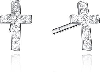 Sterling Silver Created Diamond Cross Necklace Earrings for Women