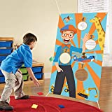 N-A HAOORYX Blippi Toss Games with 4 Bean Bags, Large Banner Fun Indoor Outdoor Throwing Games for Kids and Adult,Themed Birthday Party Decoration Supplies for Baby Shower Activities