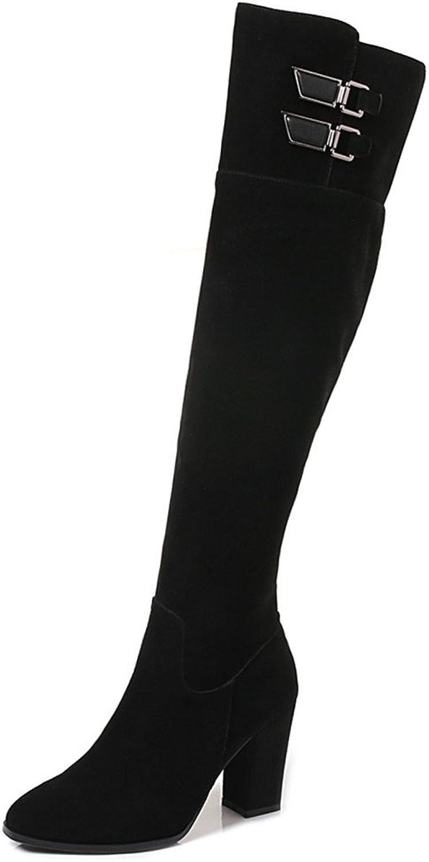 Nine Seven mocka läder Woherrar Woherrar Woherrar Round Toe Chunky Heel Buckles Handgjorda Elegant Knee höga stövlar  köp varumärke