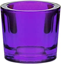 (12, Violet) - Bluecorn Beeswax Heavy Glass Votive and Tea Light Candle Holders (12, Violet)