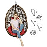 Greenstell Rattan Wicker Egg Hammock Chair with Hanging Kits,Weather Fastness Hanging Chair with Comfortable Red Cushion and Pillow,Basket Swing Chair for Indoor,Outdoor Bedroom,Patio,Garden (Brown)