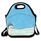 Bolsas de almuerzo aisladas, de neopreno, reutilizables, grandes y resistentes al agua, para viajes al aire libre, trabajo, muñeco de nieve, invierno, Navidad, Año Nuevo, lindo personalizado.