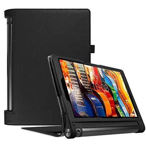 Fintie Schutzhülle für Lenovo Yoga Tab 3 10 (nicht passend Pro Plus 10.1), Premium-PU-Leder-Folio-Hülle mit automatischer Sleep/Wake-Funktion Tab3 10,1 Zoll Tablet, Schwarz