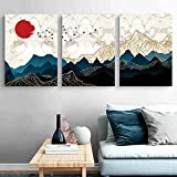 Sunset Dusk Line Mountain Wall Art Poster Paisaje abstracto Lienzo Pintura Imagen impresa para la sala de estar Decoración del hogar sin marco-40x50cmx3