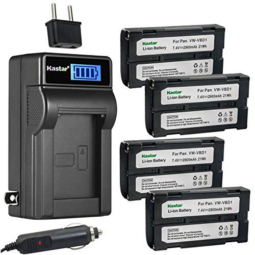 Kastar 4-Pack BDC58 Battery and LCD AC Charger Compatible with Topcon Instruments FX Series, SETX Series, SRX Series, SX Series, GPS GRX1, GRX2, SRX, Sokkia 610 Total Station, Hitachi VLH100L, VM645LA -  CHL-4B-BDC58-F