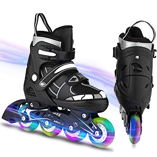 WeSkate Inline Skates Kinder/Erwachsene verstellbar Inliner mädchen/Jungen Rollerskates Rollschuhe mit Blinkende Rädern Roller Skates Herren/Damen Größe 31-42