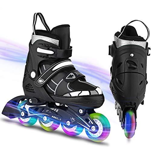WeSkate Größenverstellbare Inline Skates Erwachsene Inliner mit beleuchteten Rädern, Outdoor- und Indoor-Rollschuhe für Damen Frauen Herren Anfänger