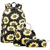 Abshoo Lightweight Water Resistant Sunflower Backpacks for Teen Girls School Backpack with Lunch Bag (Sunflower Black Set)