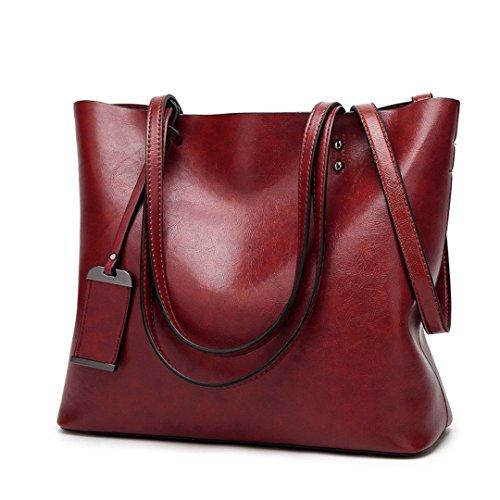 Bolso De Cuero Bolsos de Mujer de Gran Capacidad Diseñador de Bolsos con bandoleras monederos Dama Bolsa Crossbody Bolsas Vino Rojo