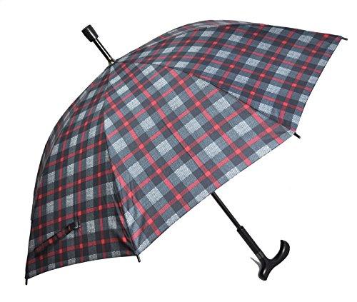 Regenschirm Stützschirm Gehstock Gehhilfe mit Fritzgriff & Gummipuffer karo rot-grau